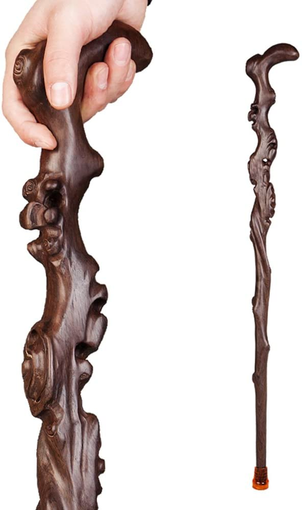 HXZXH Wood Cane with Supportive Curved Handle Gift Exquisite Carving Walking Canes as Gifts Walking Sticks for Men and Women Hand Crutch Crutches Made of Ebony Wood Fashionable Sturdy Stable Brown