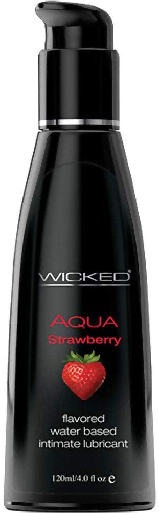 Wicked Aqua Flavored Water Based Intimate Lubricant, 4 fl.oz (120 mL) (Strawberry)