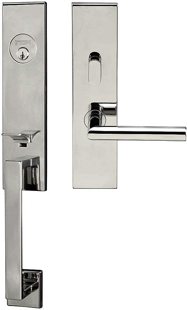 INOX MH105C573-32-RHR Manhattan Door Handle Set, Polished Stainless Steel