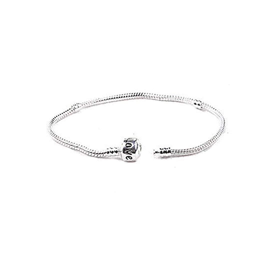 925 Silver Snake Charm Bracelet With Snap Clasp