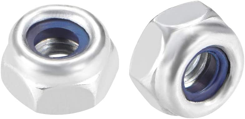 uxcell M4 x 0.7mm Nylon Insert Hex Lock Nuts, Carbon Steel White Zinc Plated, Pack of 50