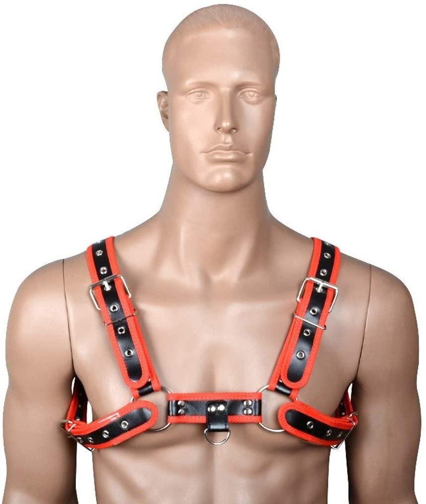ZQG SM Adult Men's Chest Breast Erotǐc Leather Fun Restraint Bondage Binding Ties Leather Straps,for Sadomasochǐsm (Color : Red)