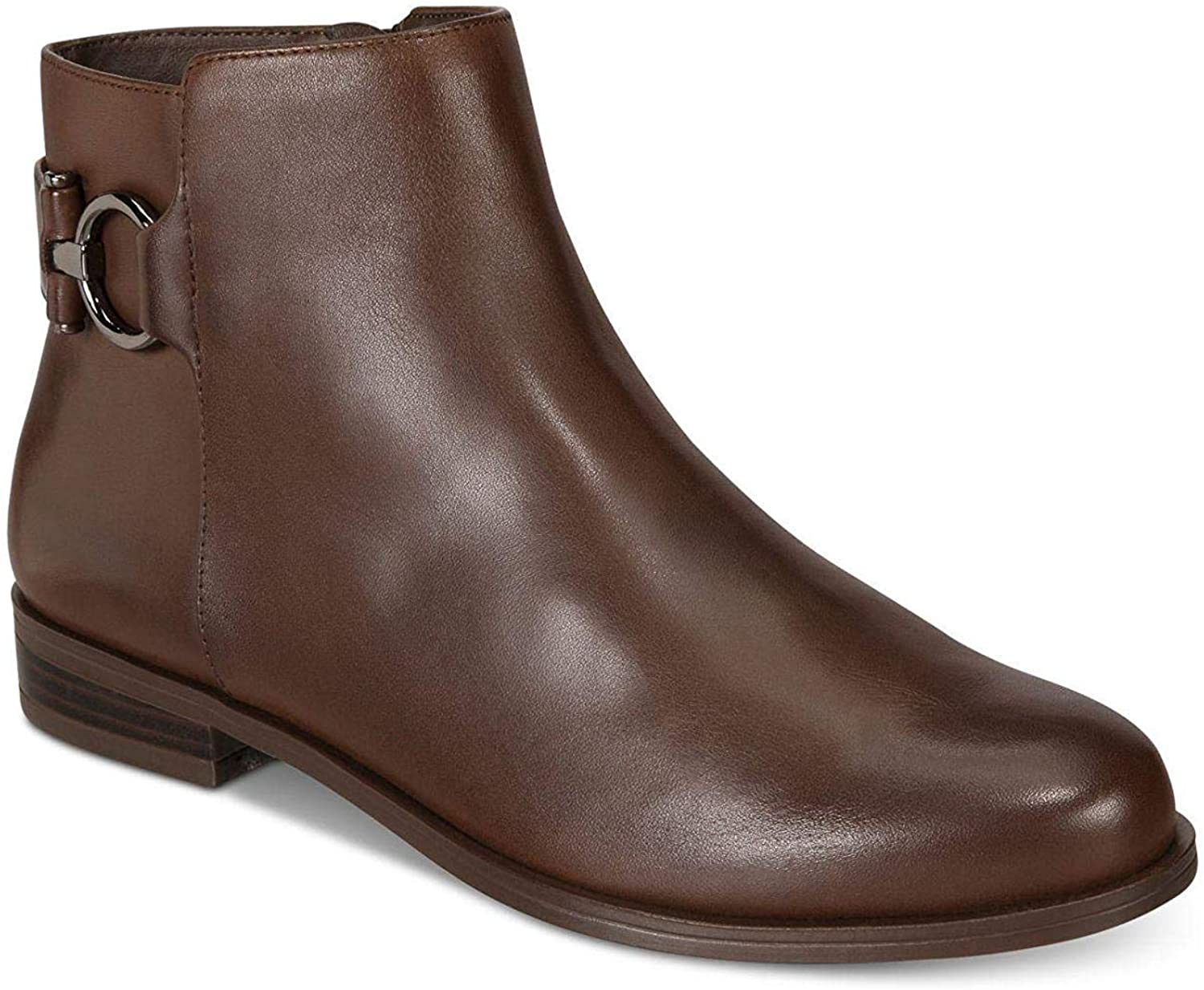 Alfani Womens Ayaa Leather Closed Toe Ankle Fashion Boots, Cold Brew, Size 8.0