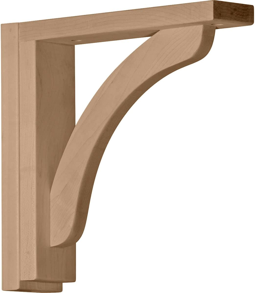 Ekena Millwork BKT02X10X10REAL-CASE-2 Reece Shelf Bracket, Alder - Ready to be Stained