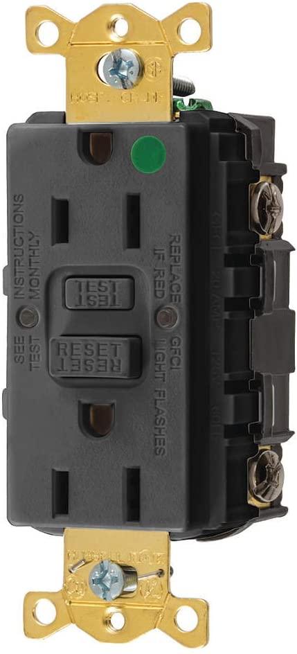 Hubbell GFRST82BK Gfci Receptacle, 15 Amps, Nema Configuration: 5-15R, Decorator, Self-Testing: YES, Black