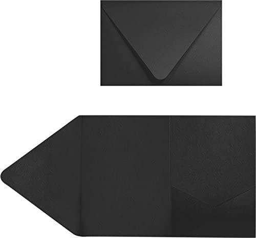 A7 Pocket Invitations (5 x 7) - Midnight Black (50 Qty) | Perfect for Invitation Suites, Weddings, Announcements, Sending Cards, Elegant Events | Printable | EX10-LEBA712PF-50