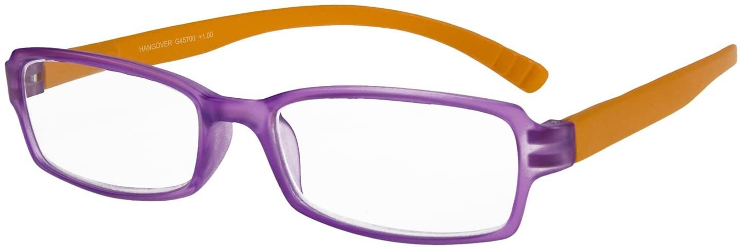 I NEED YOU Readers Purple/Orange Hangover Plastic Frame With Extra Long Spring Temples Reading Glasses +3.0 Strength Or Choose Your Power