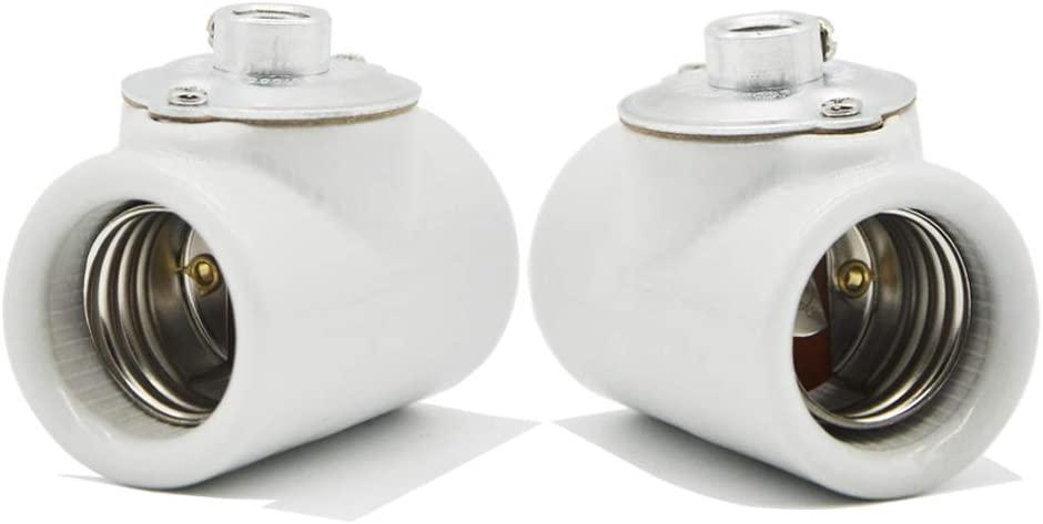 Dual Bulb Socket, Medium Base E26 Double Light Fixture Socket,Screw Fixing Porcelain E26 Twin Light Socket with Bushing