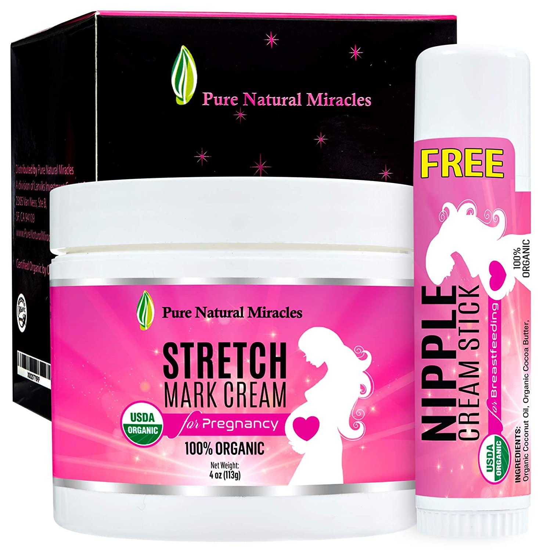 Stretch Mark Cream for Pregnancy, Belly Butter - 100% Organic (4 Oz)