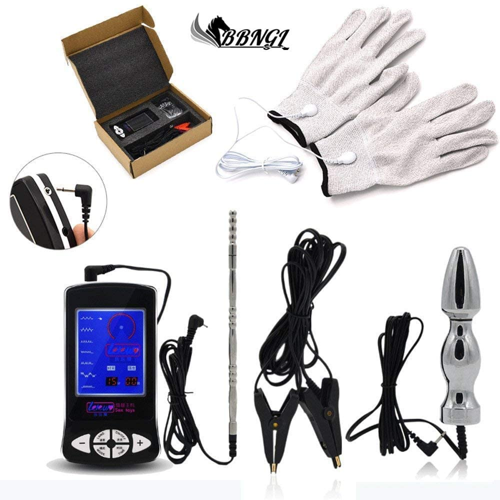 Estim Accessories Luxury Electric Stimulation Set with Anal Plug Anal Dildo Nipple Clamps Urethral Dilator and Glove, Electro Sex Stimulation Torture SM Sex Toys for Women Men Couples