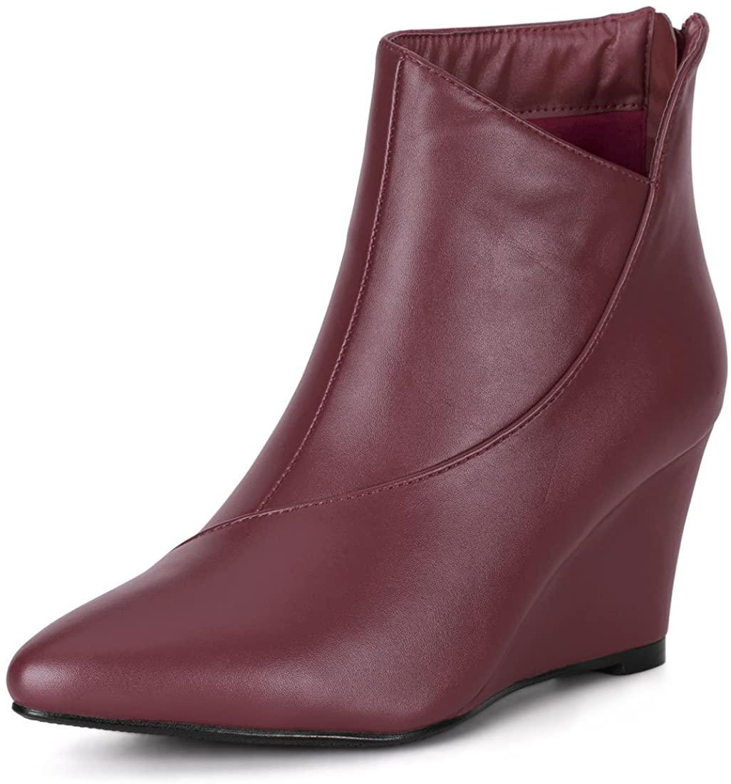 Allegra K Women's Pointed Toe Zipper Wedge Heel Ankle Booties