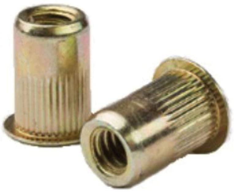 AELS8-610-6.6, RIVETNUT, M6x1 (4.19-6.60mm GR) RND Body Splined, LG FLNG HD, Steel, Zinc YLW (100 PK)