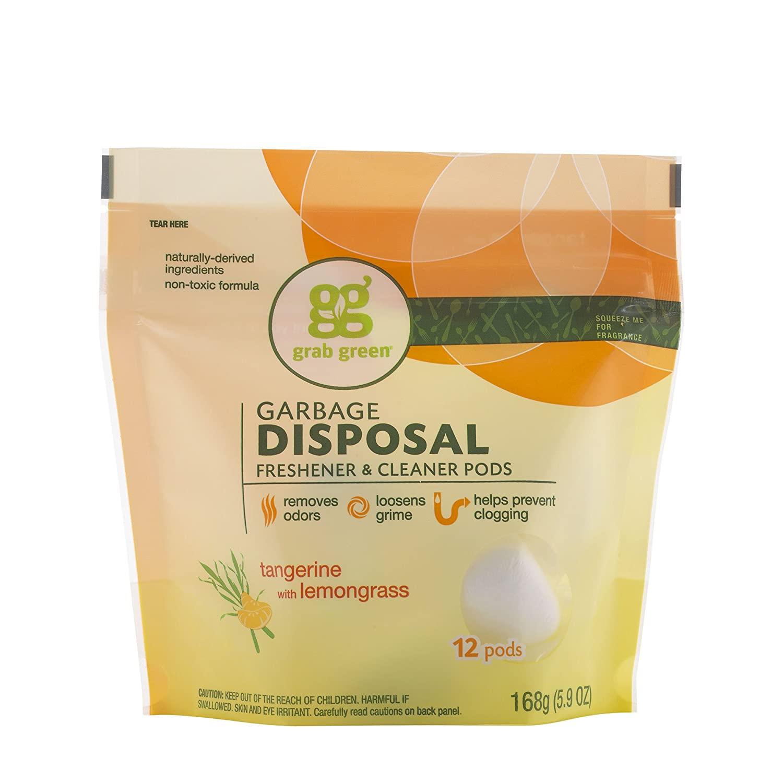 Grab Green Garbage Disposal Freshener Cleaner Pods - Tangerine with Lemongrass, white