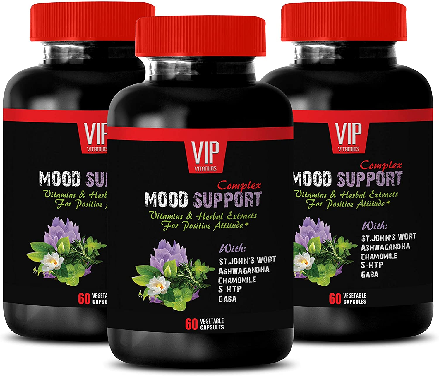 Mood Daily Care probiotics - Mood Support Complex - Stress and Anxiety Relief Herbal Formula - Chamomile Seeds - 3 Bottles (180 Capsules)