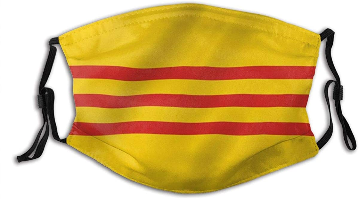 SURERUIM South Vietnam Flag South Vietnamese Flags Dust Washable Reusable Filter and Reusable Mouth Warm Windproof Cotton Face