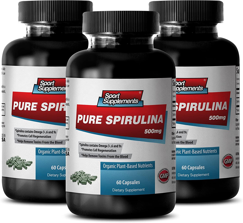 Spirulina Chlorella Wheatgrass - Pure Spirulina 500mg - Improve Vitality and Immune System with Top Spirulina Supplement (3 Bottles 180 Capsules)
