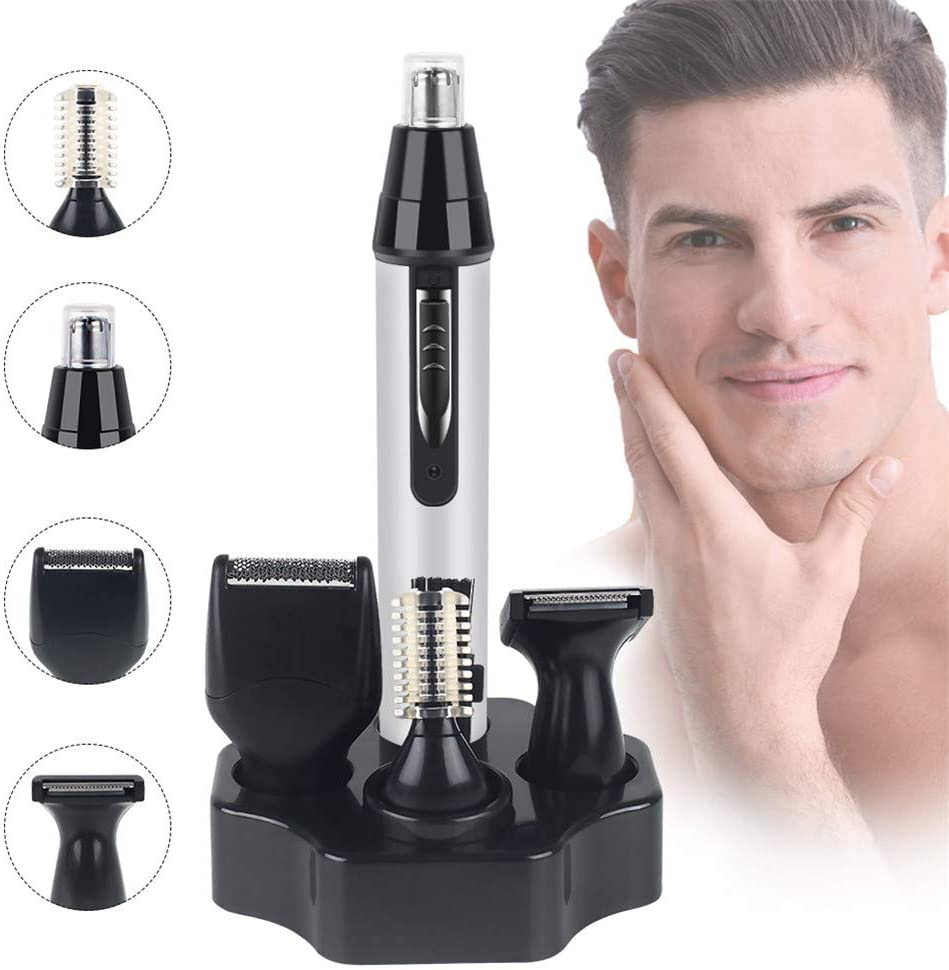 GEER 4 in 1 Electric Ear Nose Hair Trimmer for Men Women, Painless Trimming, Professional Eyebrow and Sideburn Trimmer, Low Noise Rechargeable, Waterproof