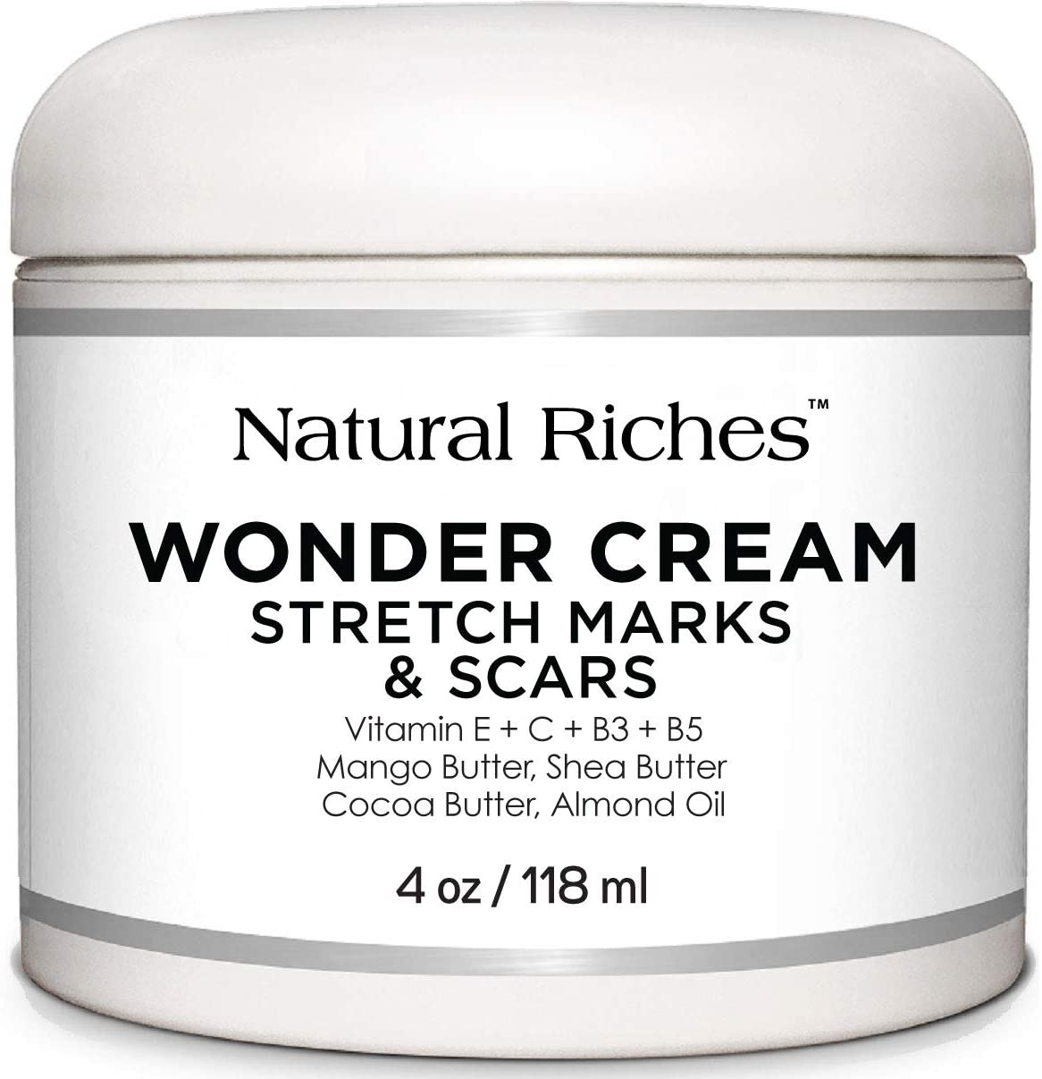 Natural Riches Stretch Marks & Scar Removal Cream, from Natural Riches - Natural, Reduces The Appearances of Keloids, Pregnancy Stretch Marks and Scars - 4 oz