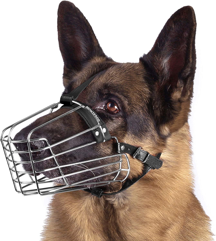 BronzeDog Wire Basket Dog Muzzle German Shepherd Metal Leather Adjustable