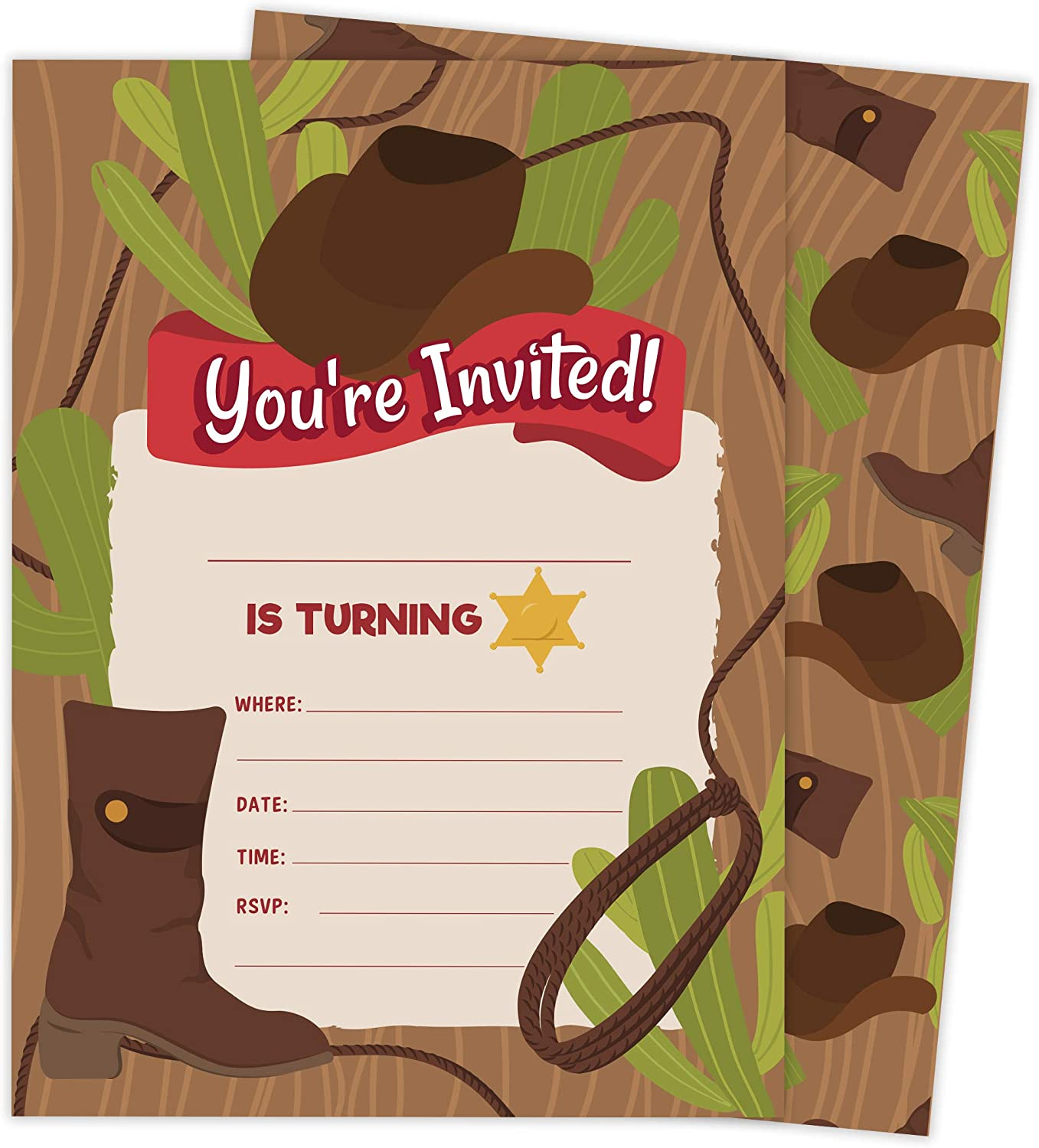 Cowboy 1 Happy Birthday Invitations Invite Cards (25 Count) With Envelopes and Seal Stickers Vinyl Girls Boys Kids Party (25ct)