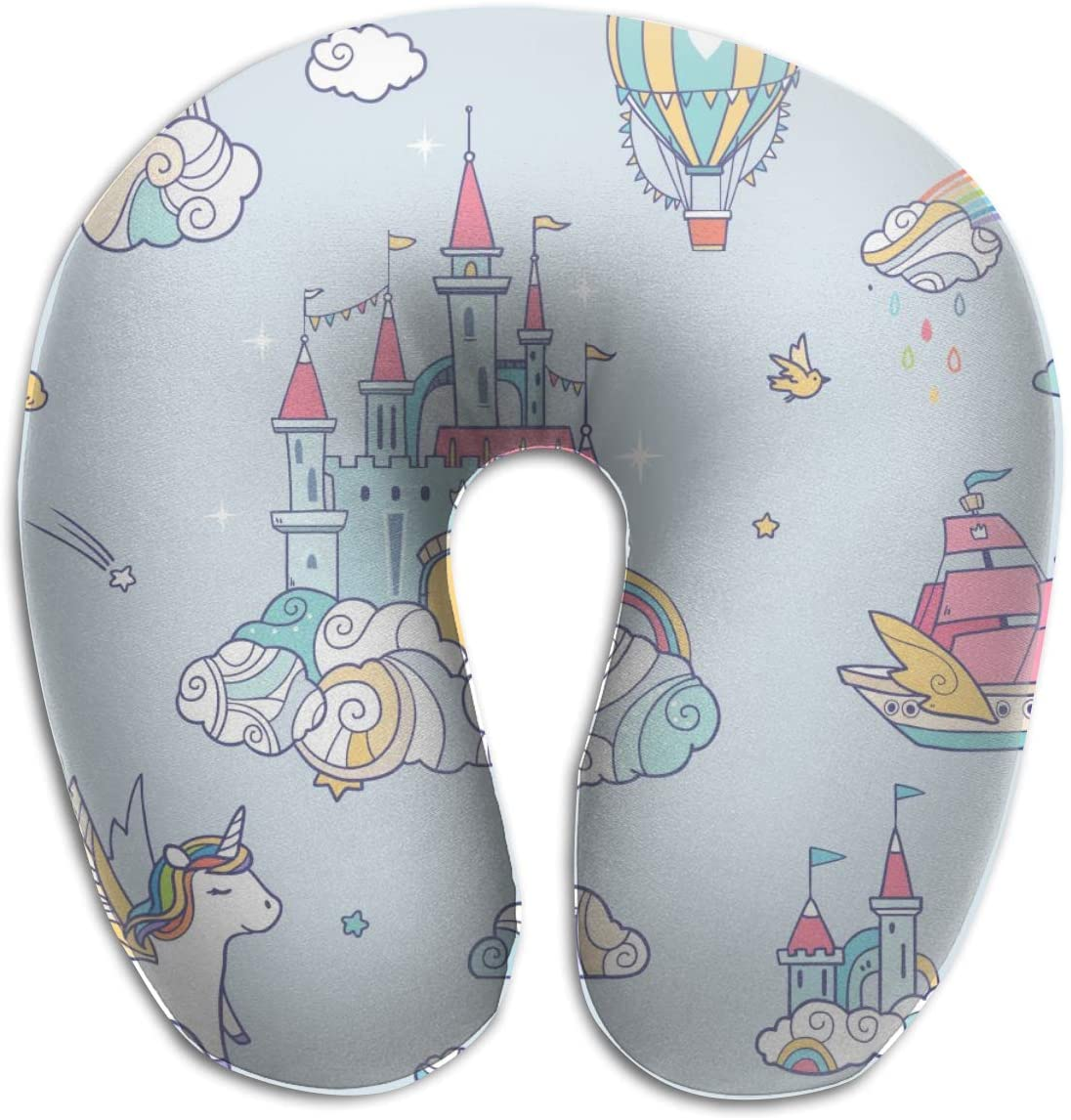 Comfortable U Shaped Neck Pillow,Seamless Pattern With Fairy Cloud Castle Neck Pain Relief Pillow Neck Support Pillow for Airplanes Washable Cotton Cover Buckwheat Hulls Filling Concealed Zipper