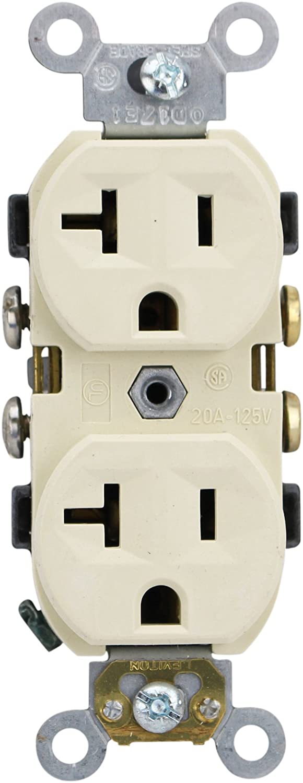 Leviton CBR20-I Duplex Receptacle Outlet 20A 125V Preferred, Ivory (10 Pack)