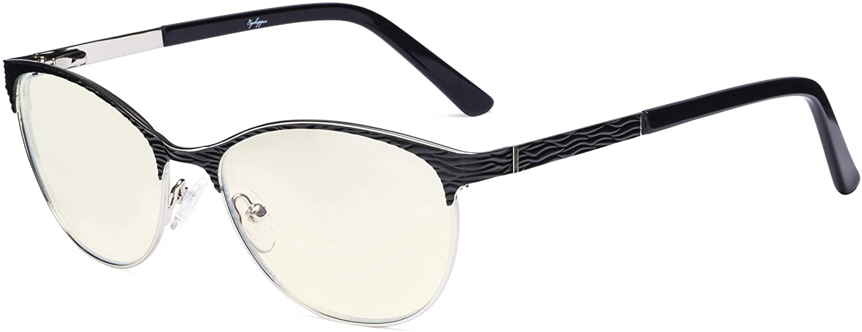 Eyekepper Ladies Computer Glasses - Semi Rimless Blue Light Filter Eyeglasses Women- UV420 Protection Cateye Eyewear - Black