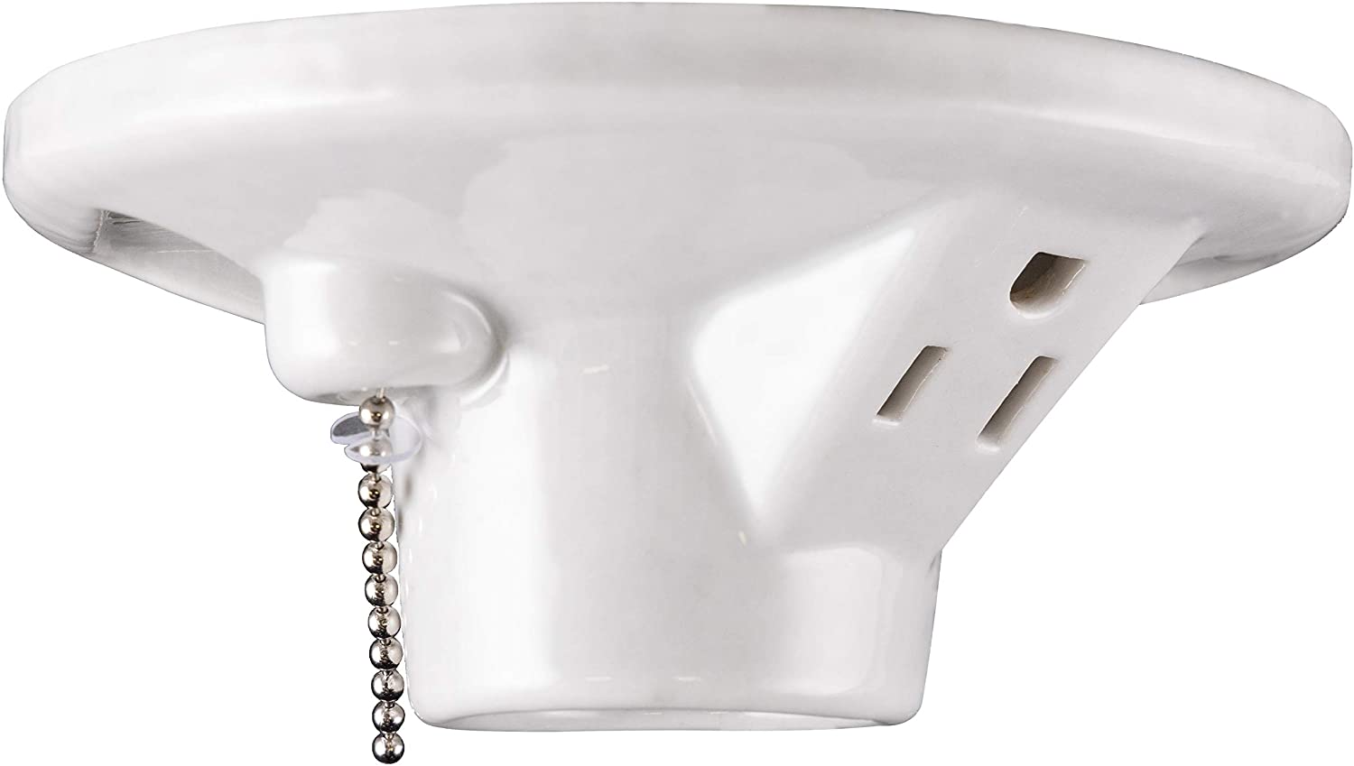 GE Porcelain Lampholder, Grounded with Pull Chain, White 18305