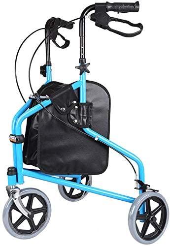 Lightweight Rollator 3 Wheel Walker Cruiser Mobility Walking Frame Disability Aid (Walk 3 Wheel Blue)