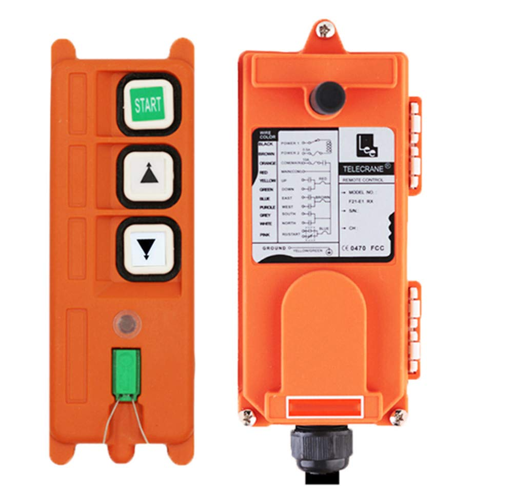 NEWTRY 3 Buttons Wireless Crane Remote Control 220V Pocket Industrial Channel Electric Lift Hoist Radio Switch Transmitter Receiver (One Transmitter, 220V Receiver)