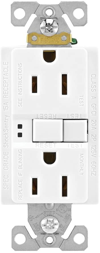 EATON SGF15W-3 Arrow Hart Duplex Gfci Receptacle, 125 Vac, 15 A, 2 Pole, 3 Wire, White