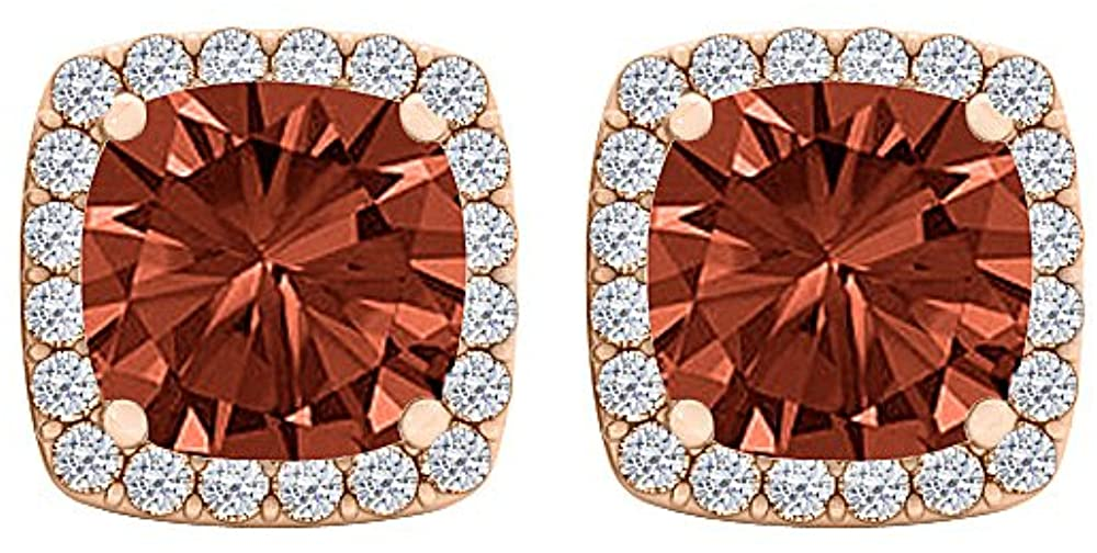 Garnet CZ Perfect Square Halo Stud Earrings Rose Gold