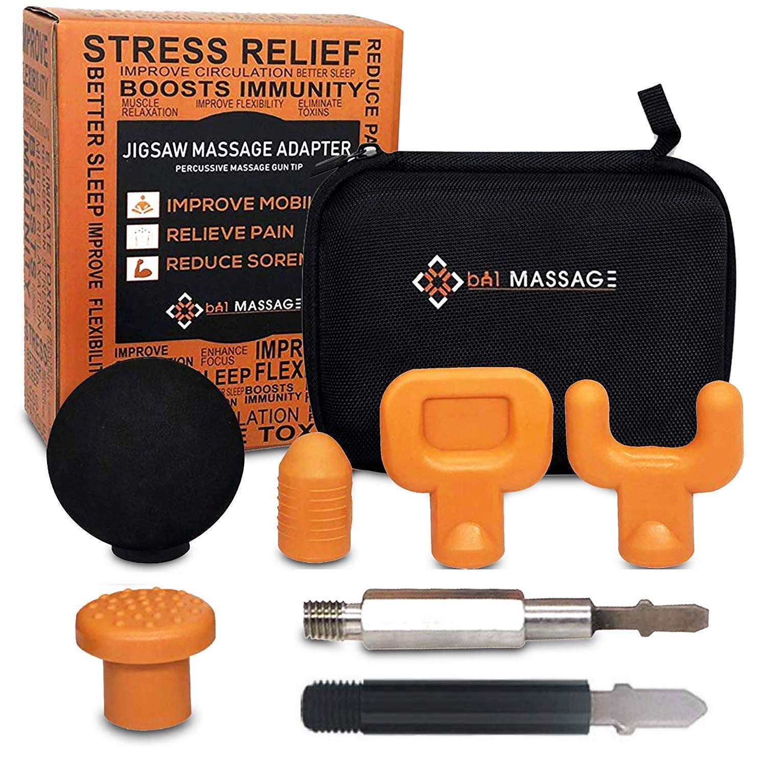 bA1 Massage - Jigsaw Massager Adapter Attachment - 5 Deep Tissue Percussion Tips with Extra Fortified T Bit - Recover Faster