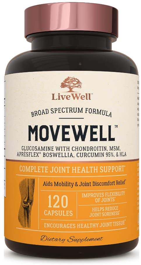 Glucosamine Chondroitin with MSM, Hyaluronic Acid, and More - MoveWell by LiveWell | Joint Health Supplement