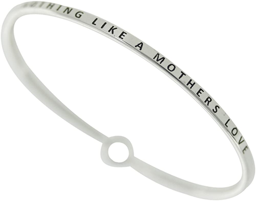 Story Collection Women's -Nothing Like A Mother's Love- 3mm Message Silver Plated Brass Bangle Bracelet