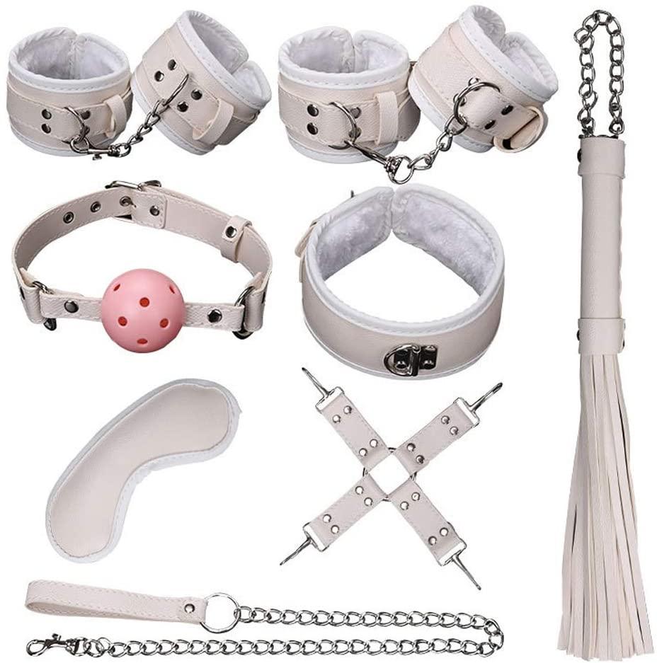 XANGLO 8Pcs BDS-M Bondage Set Eye Máśḱ Handcuffs Leg Bracelet Leather Whip Cross Buckle MǒuthPlǔg Traction Chains Choker Cósplǎy Costume Cọuples Game Restraints Tool Ǎd-ULT Ṡěx Tǒys