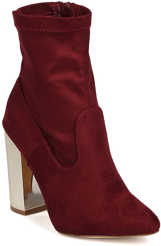 X2B Women Faux Suede Pointy Toe Mirror Metallic Block Heel Bootie GA80