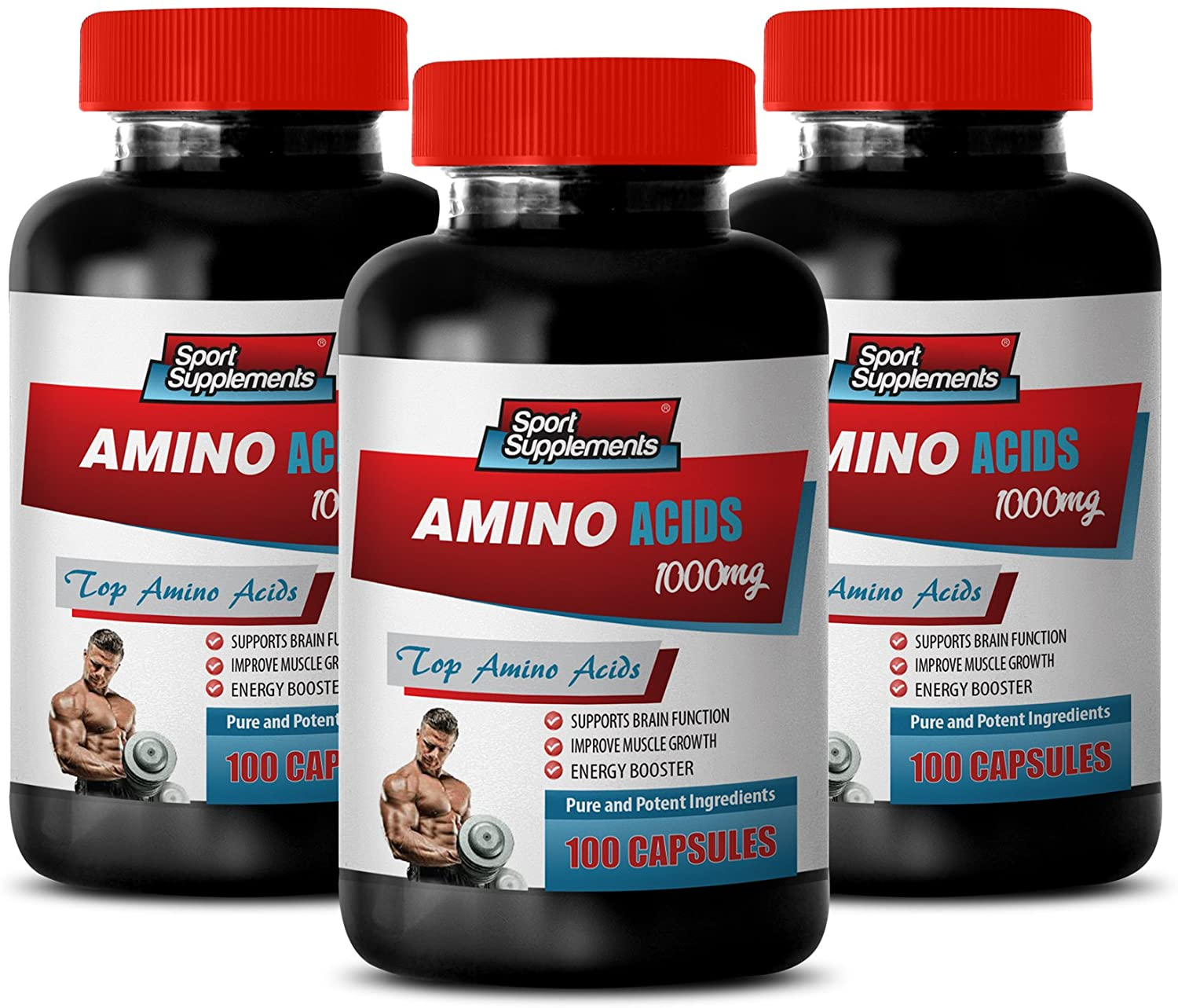 pre Workout Complex - Amino ACIDS 1000Mg - TOP Amino ACIDS Blend - l-theanine Supplement - 3 Bottles 300 Capsules