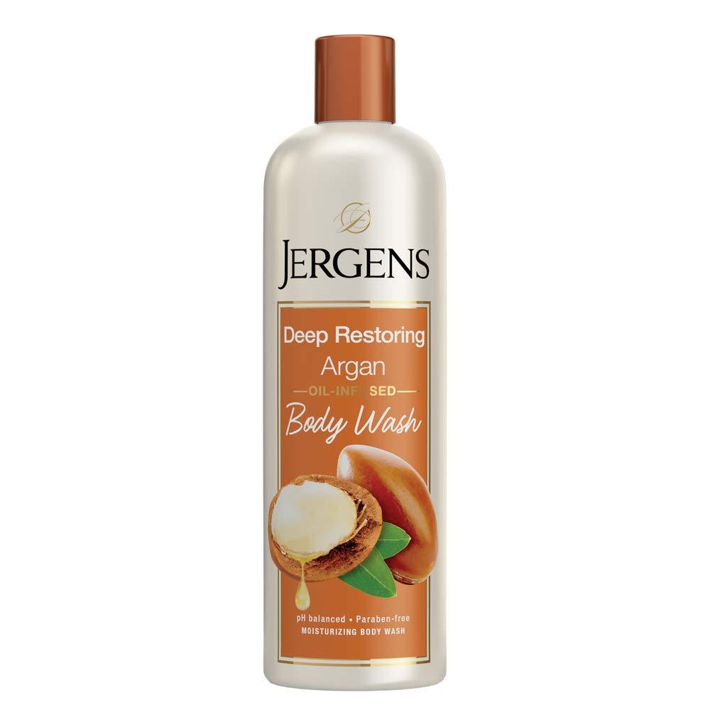 Jergens Deep Restoring Argan Body Wash, 22 Ounces, Daily Moisturizing Skin Cleanser, Infused with Nourishing Argan Oil, pH Balanced, Dye Free, Paraben Free, Dermatologist Tested