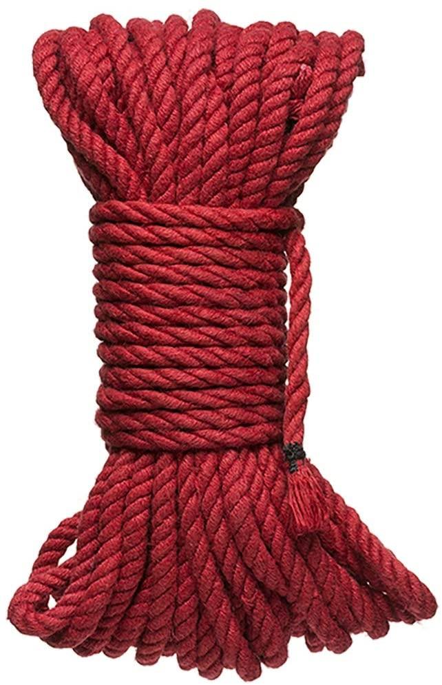 Kink by Doc Johnson - Hogtied - Bind & Tie - 6mm Hemp Bondage Rope - 50 Feet, Red