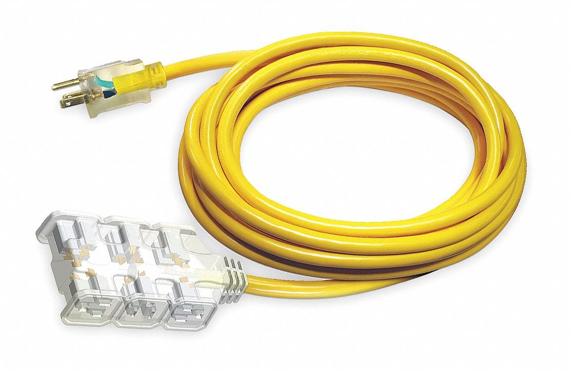 Power First 100 ft. Indoor, Outdoor Lighted Extension Cord; Max Amps: 15.0, Number of Outlets: 6, Yellow