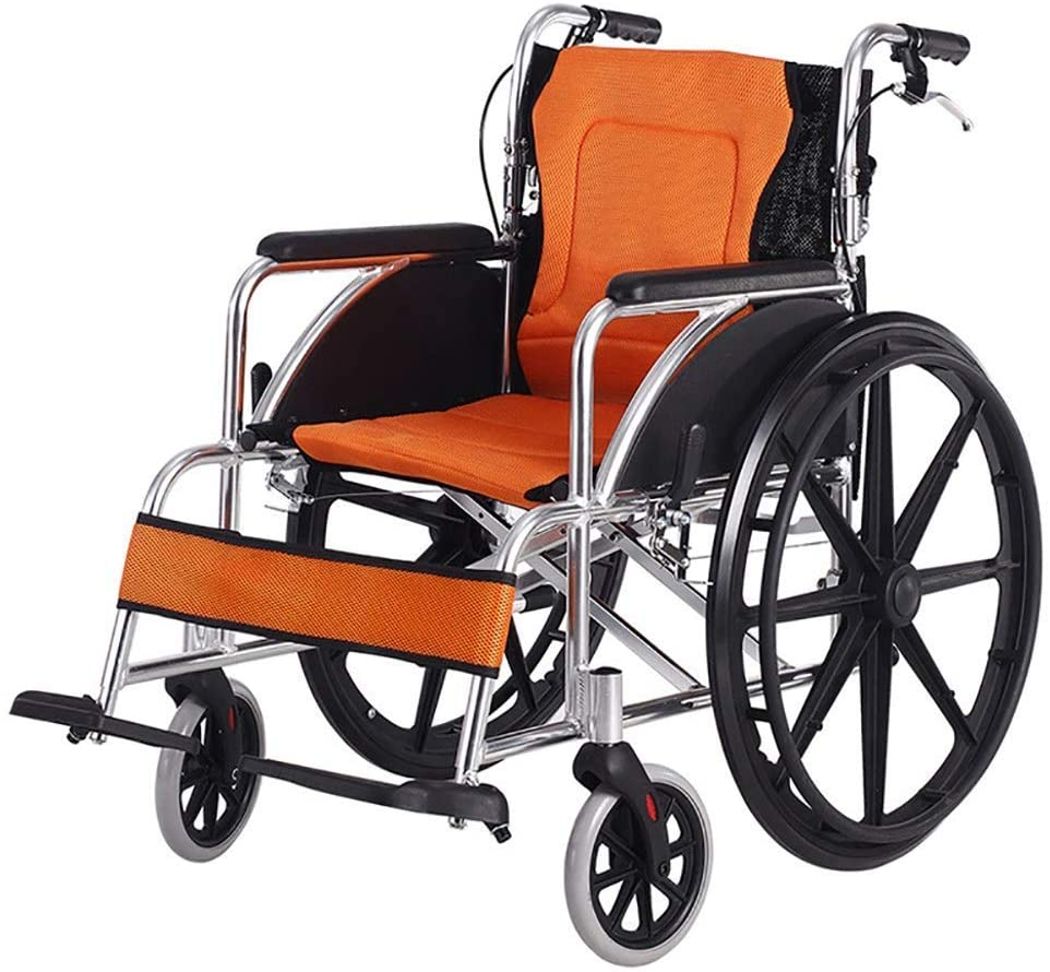 NADAENW Self-Propelled Aluminum Alloy Wheelchair Lightweight Folding with Handbrake Manual Lock and Collapsible Pedal