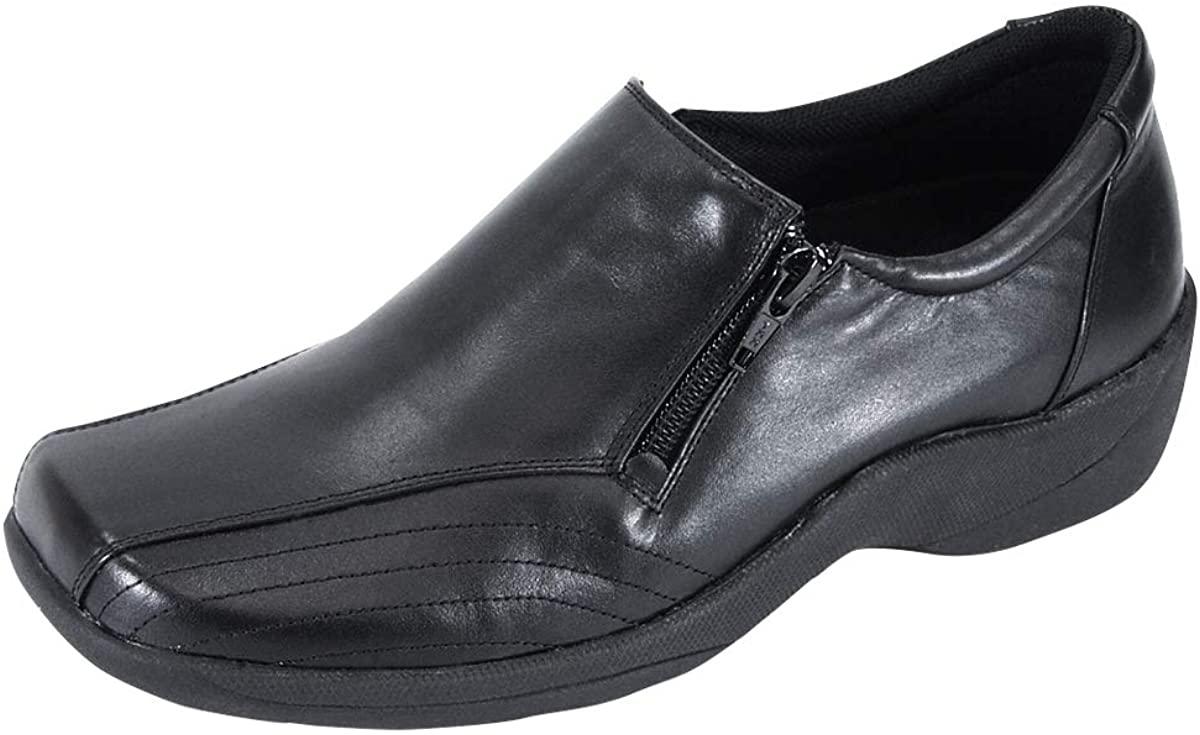 24 Hour Comfort Vera Women's Wide Width Threaded Designed Upper Leather Slip-On Shoes