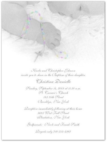 Rosary Beads Baptism Christening Invitations - Set of 20