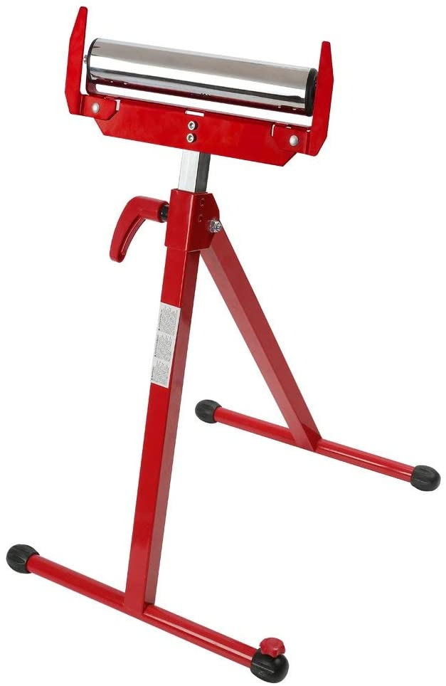WORKPRO Folding Roller Stand Height Adjustable, Pedestal with Ball Bearing Roller, Works with Table Saws, Miter Saws, Planers and Jointers for Log, Timber, Firewood and Metal, 250 lbs (Renewed)