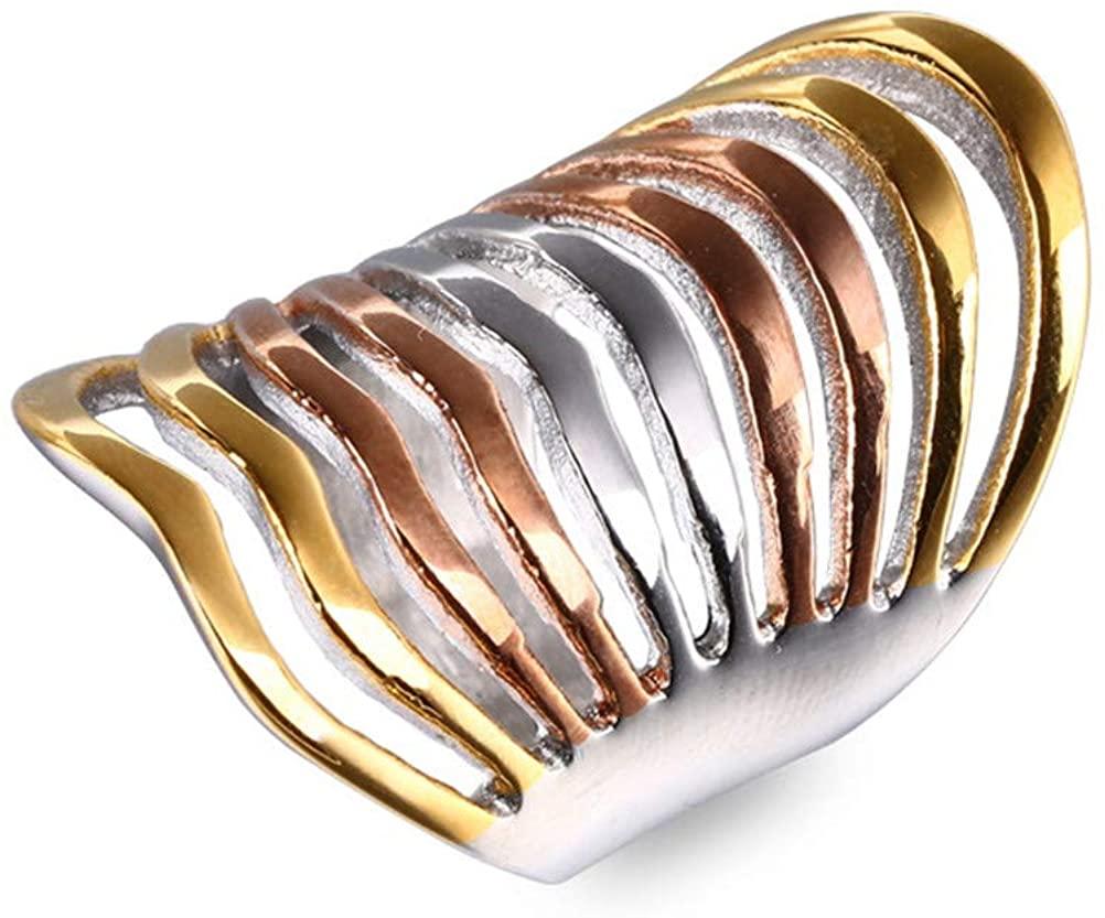 Junmer Women's Popular Tricolor Light Body Ring Korean Version of Chaoren Women's Titanium Rings