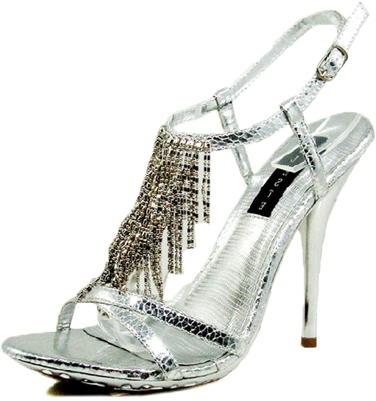 Celeste Women's Platform High Heel Ankle Fringe T-Strap Open Peep Toe Dress Evening High Heel Fashion Shoes