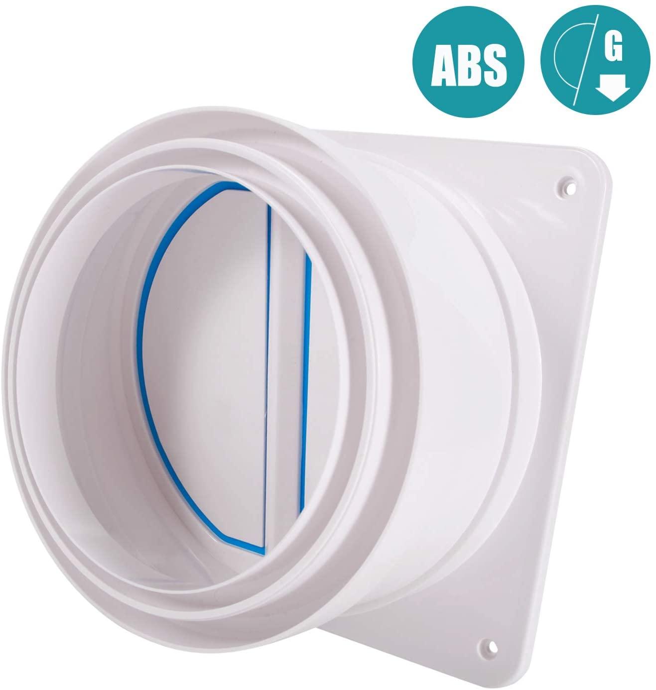 Backdraft Damper 6'', HG POWER Draft Blocker Wall Shutter Backdraft Damper Air Duct Back Check Valve HVAC Butterfly Valve for Dryer Duct Hose (Diameter: 150-180mm)