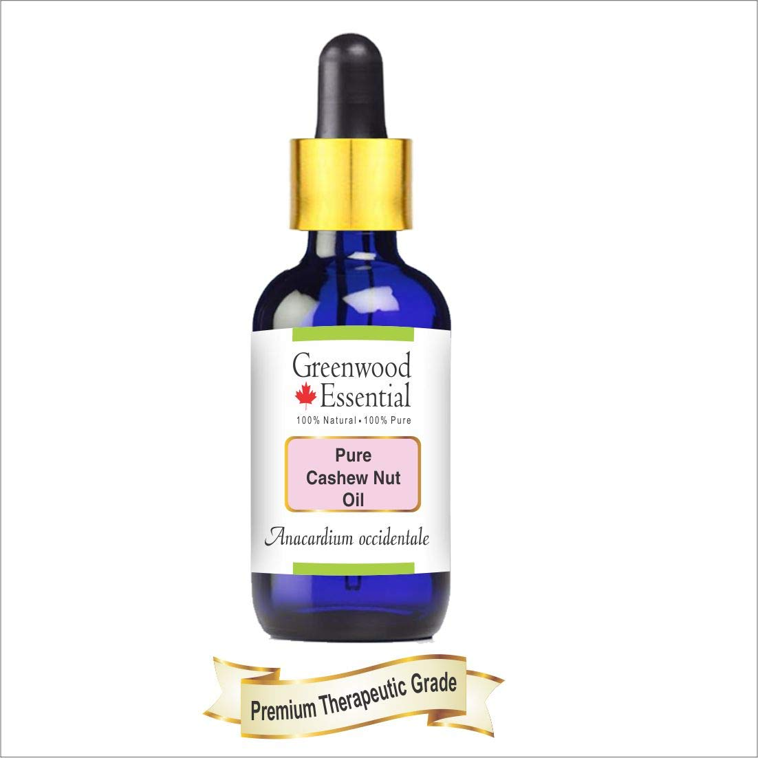 Greenwood Essential Pure Cashew Nut Oil (Anacardium occidentale) with Glass Dropper 100% Natural Therapeutic Grade 100ml (3.38 oz)