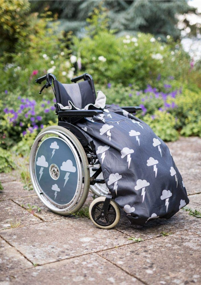 100% Waterproof Fleece-Lined Wheelchair Cozy Cover | Universal fit for Manual and Powered wheelchairs | Adult Size (Silver Lightning)